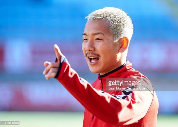 Yosuke Ideguchi of Cultural Leonesa reacts during La Liga 2 play off round between Cultural Leonesa and Sevilla II at Reino de Leon Stadium on...