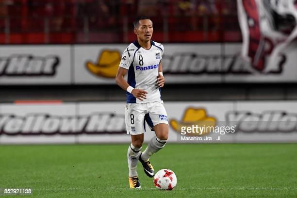 Yosuke Ideguchi of Gamba Osaka in action during the JLeague J1 match between Kashima Antlers and Gamba Osaka at Kashima Soccer Stadium on September...
