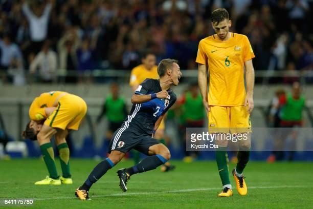 Yosuke Ideguchi of Japan celebrates scoring his side's second goal during the FIFA World Cup Qualifier match between Japan and Australia at Saitama...
