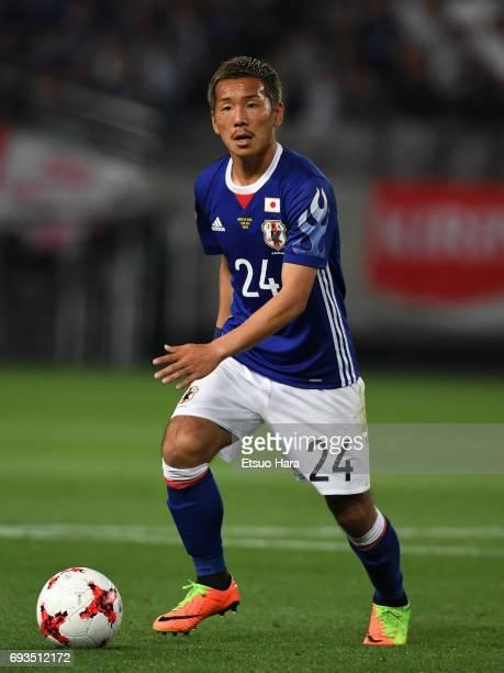 Yosuke Ideguchi of Japan in action during the international friendly match between Japan and Syria at Tokyo Stadium on June 7 2017 in Chofu Tokyo...