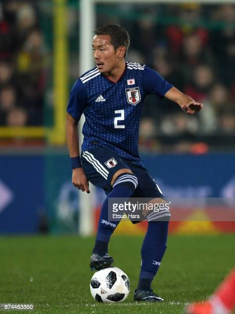Yosuke Ideguchi of Japan in action during the international friendly match between Belgium and Japan at Jan Breydel Stadium on November 14 2017 in...