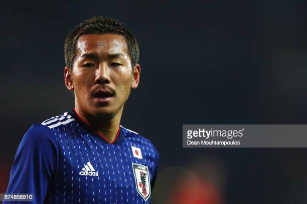 Yosuke Ideguchi of Japan in action during the international friendly match between Belgium and Japan held at Jan Breydel Stadium on November 14 2017...
