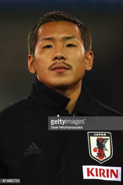 Yosuke Ideguchi of Japan lines up for the national anthem prior to the international friendly match between Belgium and Japan held at Jan Breydel...