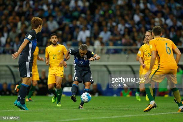 Yosuke Ideguchi of Japan scores his side's second goal during the FIFA World Cup Qualifier match between Japan and Australia at Saitama Stadium on...