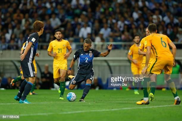 Yosuke Ideguchi of Japan scores his side's second goal during the FIFA World Cup Qualifier match between Japan and Australia at Saitama Stadium on...