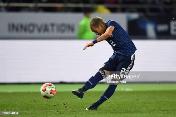Yosuke Ideguchi of Japan shoots at goal during the EAFF E1 Men's Football Championship between Japan and China at Ajinomoto Stadium on December 12...