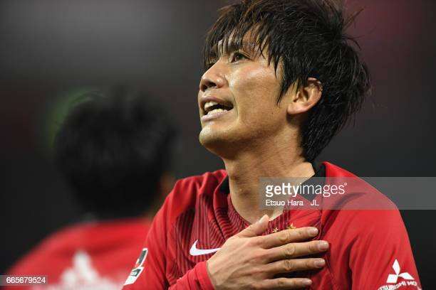 Yosuke Kashiwagi of Urawa Red Diamonds celebrates scoring his side's seventh goal during the JLeague J1 match between Urawa Red Diamonds and Vegalta...
