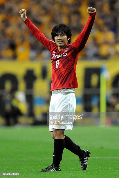 Yosuke Kashiwagi of Urawa Red Diamonds celebrates scoring his team's first goal from a free kick during the JLeague match between Urawa Red Diamonds...