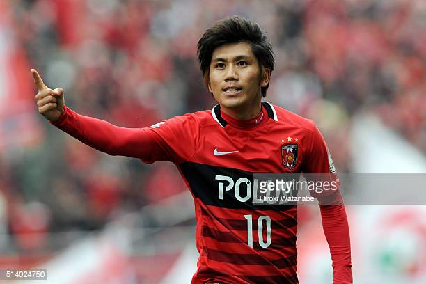 Yosuke Kashiwagi of Urawa Red Diamonds celebrates scoring his team's first goal during the JLeague match between Urawa Red Diamonds and Jubilo Iwata...