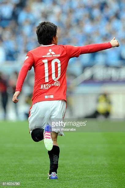 Yosuke Kashiwagi of Urawa Red Diamonds celebrates scoring his team's first goal during the JLeague match between Urawa Red Diamonds and Jubilo Iwata...