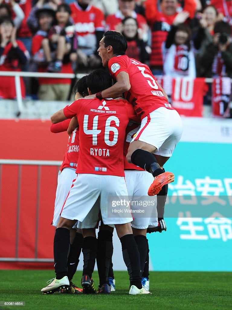 Yosuke Kashiwagi #10 of Urawa Red Diamonds celebrates scoring his team`s first goal during the J.League match between Urawa Red Diamonds and Yokohama F.Marinos at Saitama Stadium on November 3, 2016 in Saitama, Japan.