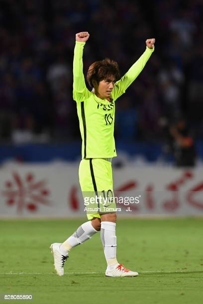 Yosuke Kashiwagi of Urawa Red Diamonds celebrates scoring the opening goal during the JLeague J1 match between Ventforet Kofu and Urawa Red Diamonds...