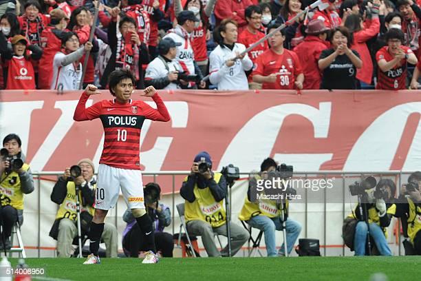 Yosuke Kashiwagi of Urawa Red Diamonds celebrates the first goal during the JLeague match between Urawa Red Diamonds and Jubilo Iwata at Saitama...