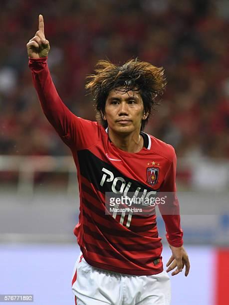 Yosuke Kashiwagi of Urawa Red Diamonds celebrates the first goal during the JLeague match between Urawa Red Diamonds and Omiya Ardija at the Saitama...