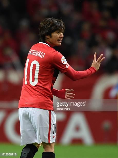 Yosuke Kashiwagi of Urawa Red Diamonds gestures during the AFC Champions League Group H match between Urawa Red Diamonds and Sydney FC at Saitama...