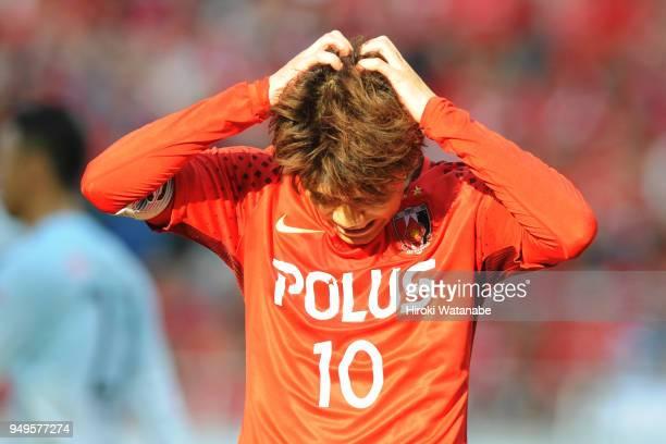 Yosuke Kashiwagi of Urawa Red Diamonds gestures during the JLeague J1 match between Urawa Red Diamonds and Consadole Sapporo at Saitama Stadium on...