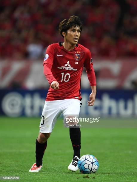 Yosuke Kashiwagi of Urawa Red Diamonds in action during the AFC Champions League quarter final second leg match between Urawa Red Diamonds and...