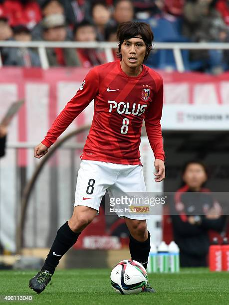 Yosuke Kashiwagi of Urawa Red Diamonds in action during the JLeague match between Urawa Red Diamonds and Kawasaki Frontale at the Saitama Stadium on...