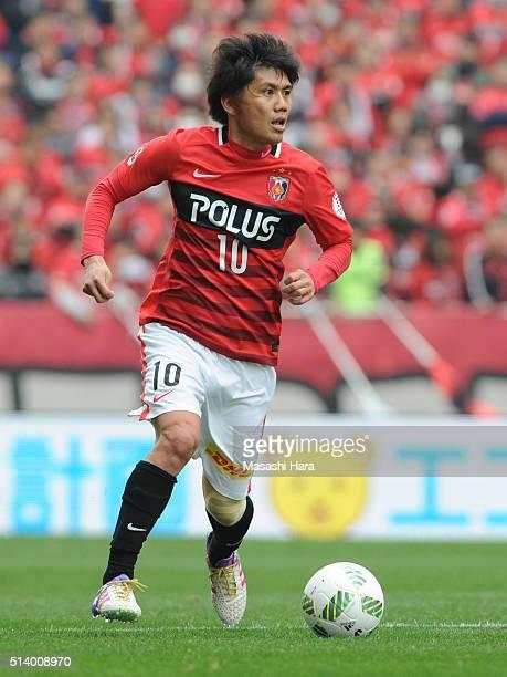 Yosuke Kashiwagi of Urawa Red Diamonds in action during the JLeague match between Urawa Red Diamonds and Jubilo Iwata at Saitama Stadium on March 6...