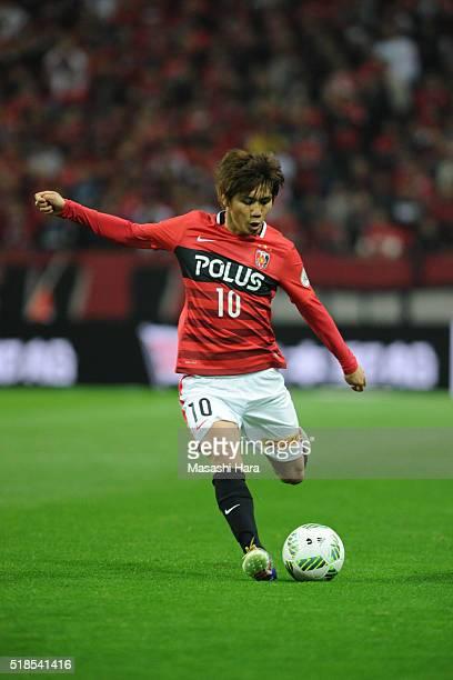 Yosuke Kashiwagi of Urawa Red Diamonds in action during the JLeague match between Urawa Red Diamonds and Ventforet Kofu at the Saitama Stadium on...