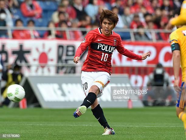 Yosuke Kashiwagi of Urawa Red Diamonds in action during the JLeague match between Urawa Red Diamonds and Vegalta Sendai at the Saitama Stadium on...