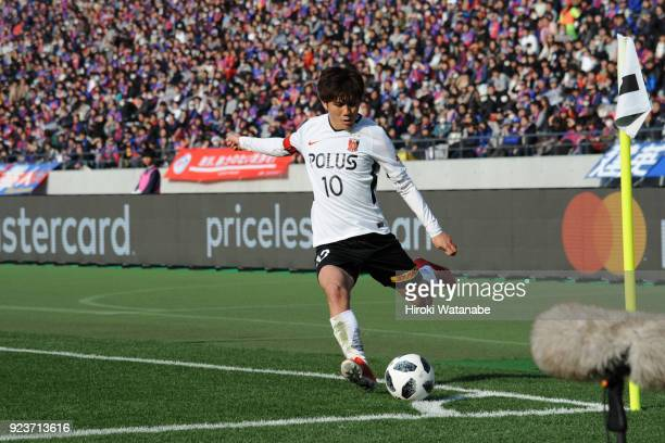 Yosuke Kashiwagi of Urawa Red Diamonds in action during the JLeague J1 match between FC Tokyo and Urawa Red Diamonds at Ajinomoto Stadium on February...