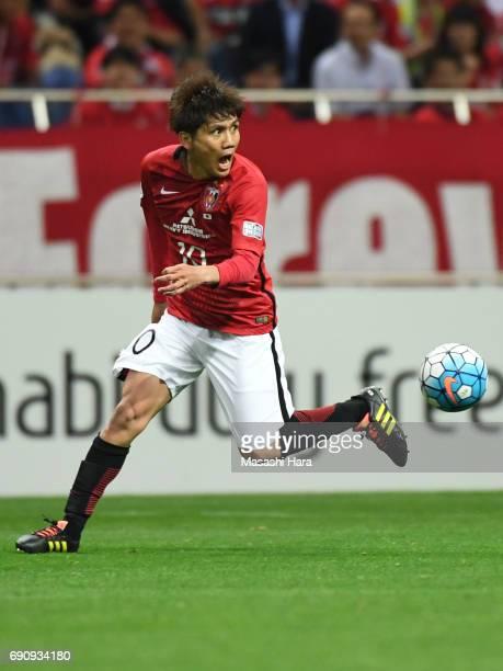Yosuke kashiwagi of Urawa Red Diamonds in acton during the AFC Champions League Round of 16 match between Urawa Red Diamonds and Jeju United FC at...