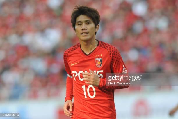 Yosuke Kashiwagi of Urawa Red Diamonds looks on during the JLeague J1 match between Urawa Red Diamonds and Consadole Sapporo at Saitama Stadium on...