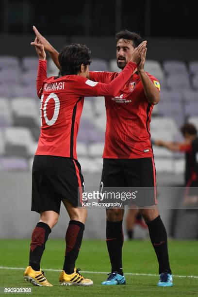 Yosuke Kashiwagi of Urawa Reds celebrates the second goal with his team mate Mauriciio Antonio of Urawa Reds during the FIFA Club World Cup UAE 2017...