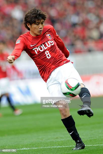 Yosuke Kashiwagi of Urawa Reds in action during the JLeague match between Urawa Red Diamonds and Matsumoto Yamaga at Saitama Stadium on April 4 2015...