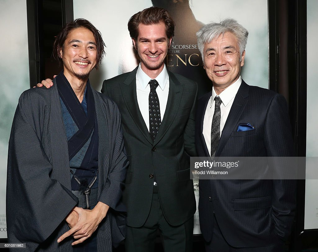 Yosuke Kubozuka, Andrew Garfield and Issey Ogata attend the premiere of Paramount Pictures' 'Silence' at the Directors Guild Of America on January 5, 2017 in Los Angeles, California.