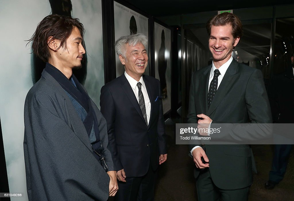 Yosuke Kubozuka, Issey Ogata and Andrew Garfield attend the premiere of Paramount Pictures' 'Silence' at the Directors Guild Of America on January 5, 2017 in Los Angeles, California.