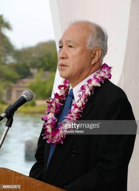 Yosuke Matsuzaki the eldest son of Japanese serviceman Mitsuo Matsuzaki who took part in the 1941 Japanese attack on Pearl Harbor speaks during a...