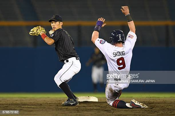 Yota Kyoda of Japan in action in bottom of the 8th inning on the day 4 match between USA and Japan during the 40th USAJapan International Collegiate...