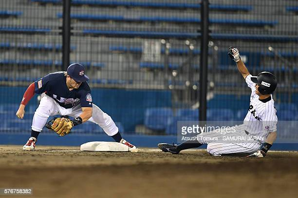 Yota Kyoda of Japan steals a third base in the bottom of fifth inning on the day 4 match between Japan v USA during the 40th USAJapan International...
