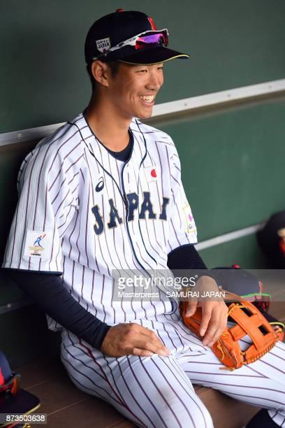 Yota Kyoda of Samurai Japan smiles during a practice game between Japan and Saitama Seibu Lions at Sokken Stadium on November 13 2017 in Miyazaki...