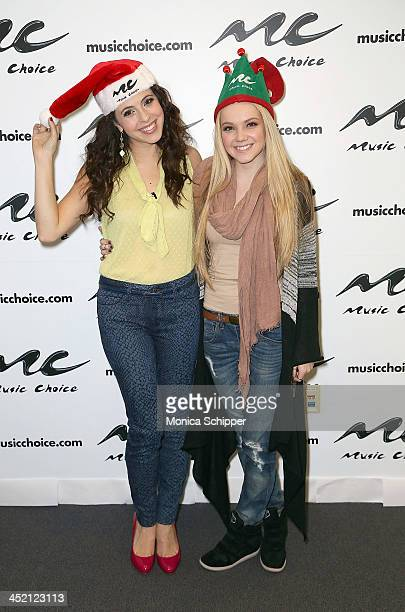 'You A' host Clare Galterio and singer Danielle Bradbery visit 'You A' Music Choice on November 26 2013 in New York City
