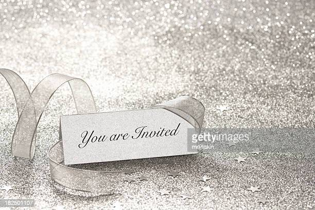 you are invited silver place card - anniversary stock pictures, royalty-free photos & images