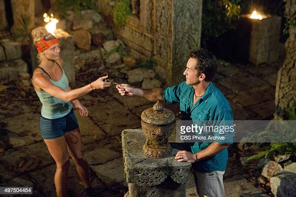 You Call We'll Haul Kelley Wentworth hands over her Hidden Immunity Necklace to Jeff Probst at Tribal Council during the eighth episode of SURVIVOR...