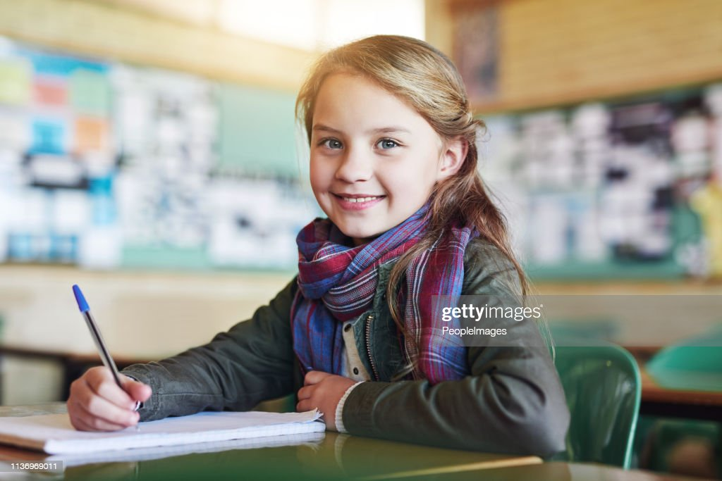 You can see she's ready to write the test : Stock Photo