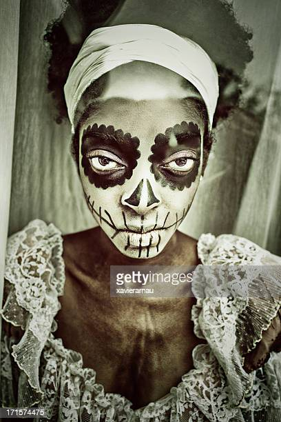 you devil - african tribal face painting stock photos and pictures