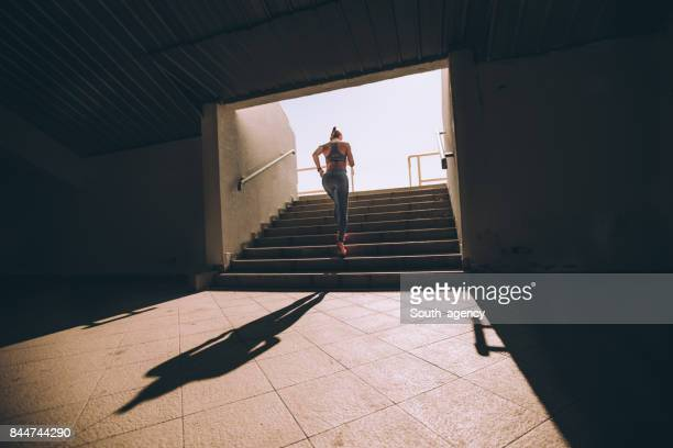 you don't always need a gym to break a sweat - steps stock photos and pictures