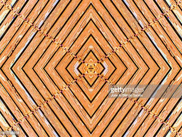You figure in the shape of concentric rhombuses of sheets of wood orange color