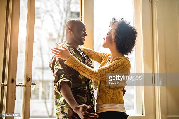 you have finally arrived my love! - military spouse stock pictures, royalty-free photos & images