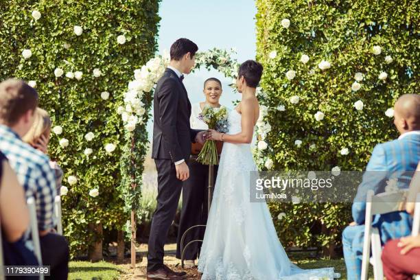 you may now kiss the bride! - wedding vows stock pictures, royalty-free photos & images