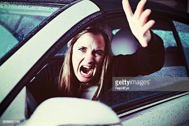 You nearly hit me! Angry, gesturing woman driver