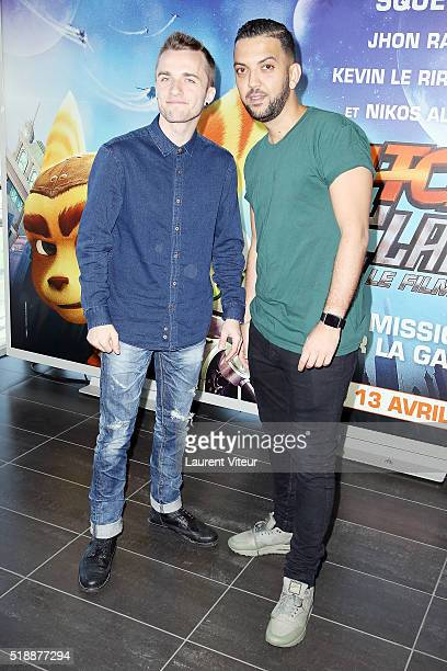 You Tubber Squeezie and Jhon Rachid attend the Ratchet & Clank Paris Premiere at Mk2 Bibliotheque on April 3, 2016 in Paris, France.