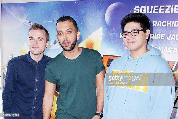 You Tubber Squeezie, Jhon Rachid and Kevin le Rire Jaune attend the Ratchet & Clank Paris Premiere at Mk2 Bibliotheque on April 3, 2016 in Paris,...