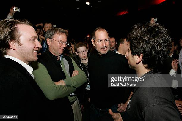 You Tube founder Chad Hurley Google CEO Eric Schmidt Apple CEO and cofounder Steve Jobs and Google cofounder Sergey Brin talk after Jobs delivered...