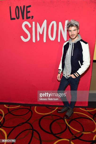 "You Tube star Joey Graceffa introduces ""Love, Simon"" in Atlanta with Author Becky Albertalli and Actress Alexandra Shipp at AMC Phipps Plaza on..."